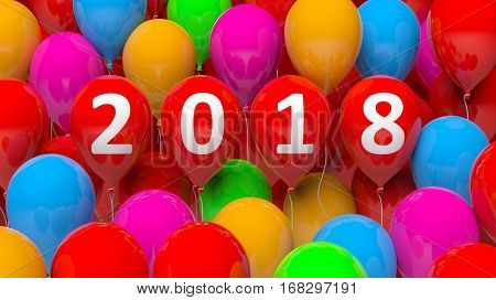 3D rendering of colorful balloons with 2018 new year