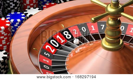 3D rendering of casino roulette with New year 2018
