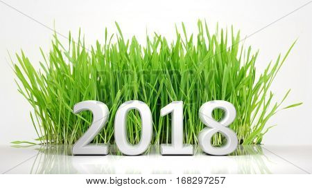 3D rendering of 2018 with green grass, on white background.