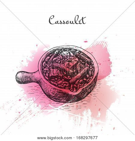 Cassoulet watercolor effect illustration. Vector illustration of French cuisine.