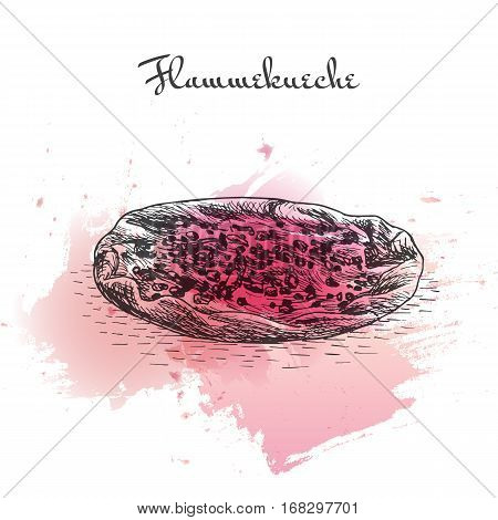 Flammekueche watercolor effect illustration. Vector illustration of French cuisine.