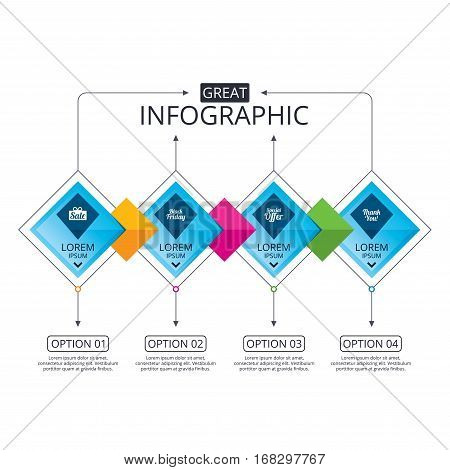 Infographic flowchart template. Business diagram with options. Sale icons. Special offer and thank you symbols. Gift box sign. Timeline steps. Vector