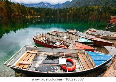 Alpine Landscape And Colorful Boats, Lake Fusine,italy