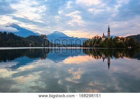 Lake Bled And Small Island Slovenia