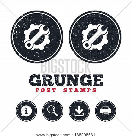 Grunge post stamps. Service icon. Wrench key with cogwheel gear sign. Information, download and printer signs. Aged texture web buttons. Vector