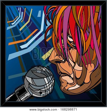 Portrait of a man. Male Artist of the singer. Illustration made in the style of comics. Singer sings into the microphone. The man bright hair, a serious expression on his face in profile.