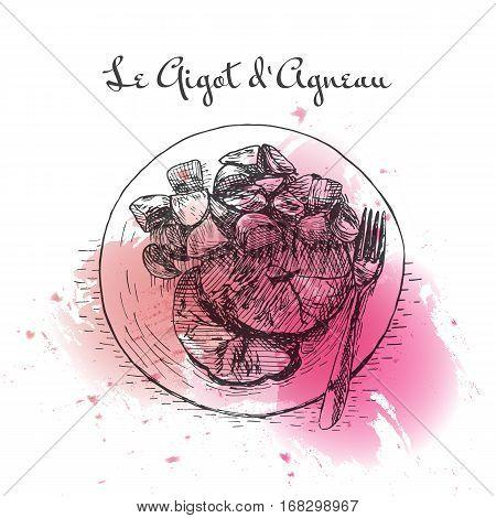 Le Gigot d'Agneau watercolor effect illustration. Vector illustration of French cuisine.