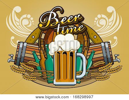 Vector graphics. Beer mug with beer foam, beer label. Glass is on the background of wooden barrels, wheat, horseshoe. It is executed in a retro style. It can be used to design a menu, bonfire, beer labels, posters, pubs and so on.