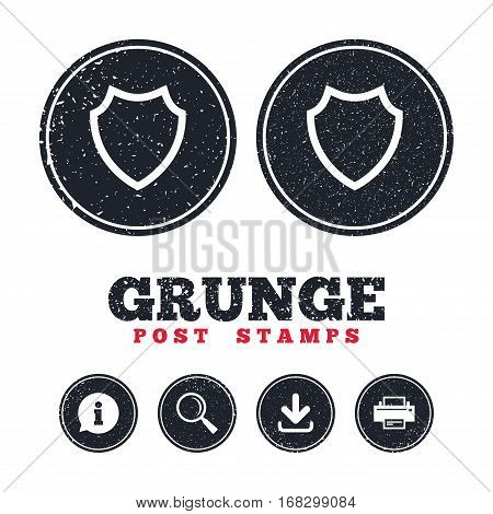 Grunge post stamps. Shield sign icon. Protection symbol. Information, download and printer signs. Aged texture web buttons. Vector