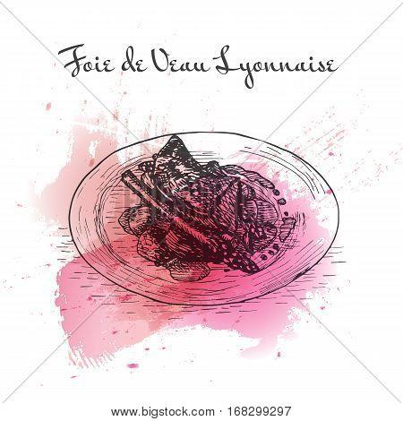 Foie de Veau Lyonnaise watercolor effect illustration. Vector illustration of French cuisine.