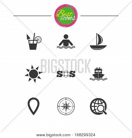 Cruise trip, ship and yacht icons. Travel, cocktail and sun signs. Sos, windrose compass and swimming symbols. Classic simple flat icons. Vector