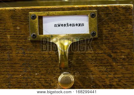 Close Up of a Sweetener Label in a Card Catalog I