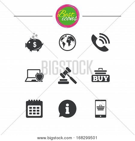 Online shopping, e-commerce and business icons. Auction, phone call and information signs. Piggy bank, calendar and smartphone symbols. Classic simple flat icons. Vector