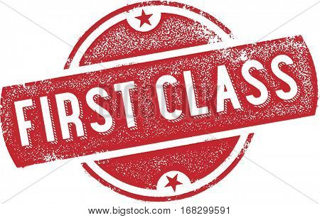 First Class Vintage Rubber Stamp