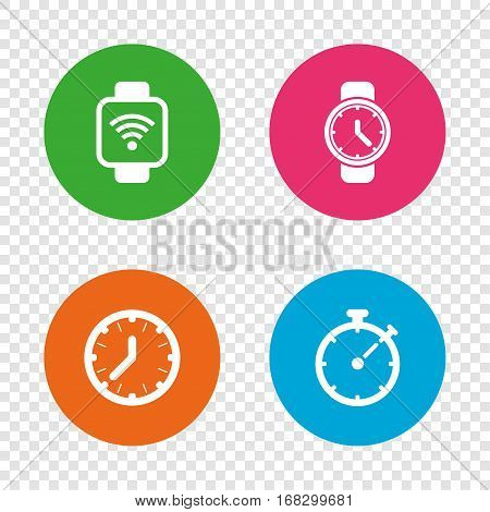 Smart watch wi-fi icons. Mechanical clock time, Stopwatch timer symbols. Wrist digital watch sign. Round buttons on transparent background. Vector