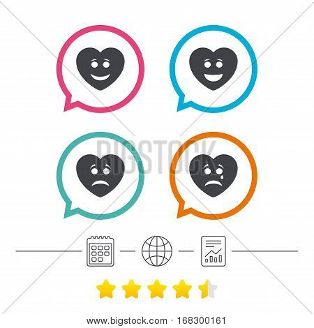 Heart smile face icons. Happy, sad, cry signs. Happy smiley chat symbol. Sadness depression and crying signs. Calendar, internet globe and report linear icons. Star vote ranking. Vector