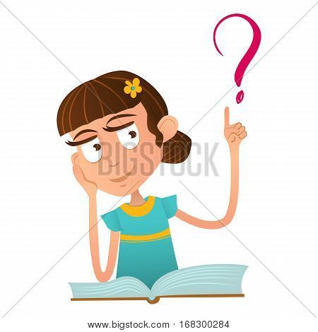 Smart cute girl sitting on a book and holding a finger up Smart cute baby boy sitting on a book and holding a finger up and over it a question mark.