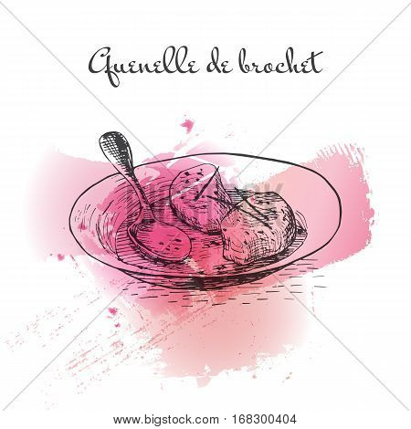 Quenelle de Brochet watercolor effect illustration. Vector illustration of French cuisine.