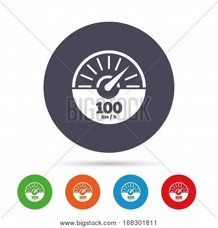 Tachometer sign icon. 100 km per hour revolution-counter symbol. Car speedometer performance. Round colourful buttons with flat icons. Vector