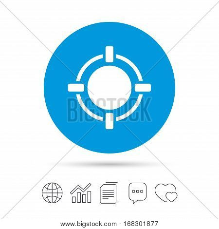 Crosshair sign icon. Target aim symbol. Copy files, chat speech bubble and chart web icons. Vector