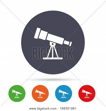 Telescope icon. Spyglass tool symbol. Round colourful buttons with flat icons. Vector