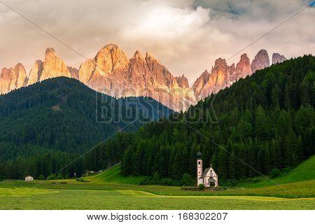 St Johann Church near Santa Maddalena Val Di Funes Dolomites Italy