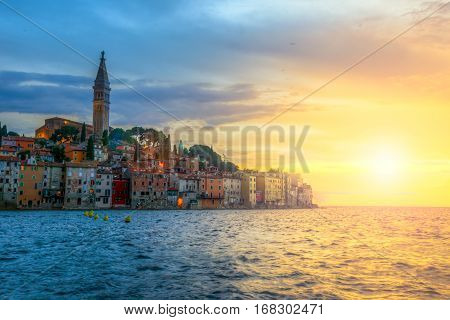 Rovinj Old Town At Night In Adriatic Sea