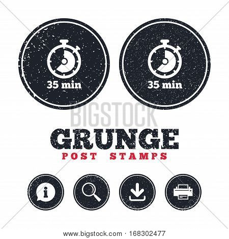 Grunge post stamps. Timer sign icon. 35 minutes stopwatch symbol. Information, download and printer signs. Aged texture web buttons. Vector