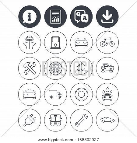 Information, download and report signs. Transport and services icons. Ship, car and public bus, taxi. Repair hammer and wrench key, wheel and cogwheel. Sailboat and bicycle. Vector