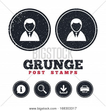Grunge post stamps. User sign icon. Person symbol. Human in suit avatar. Information, download and printer signs. Aged texture web buttons. Vector