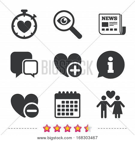 Valentine day love icons. Love heart timer symbol. Couple lovers sign. Add new love relationship. Newspaper, information and calendar icons. Investigate magnifier, chat symbol. Vector
