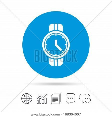Wrist Watch sign icon. Mechanical clock symbol. Men hand watch. Copy files, chat speech bubble and chart web icons. Vector
