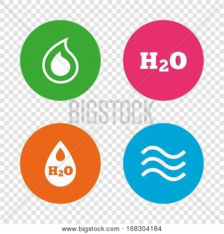 H2O Water drop icons. Tear or Oil drop symbols. Round buttons on transparent background. Vector
