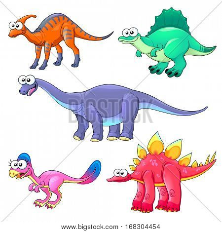 Group of funny dinosaurs. Cartoon vector isolated characters.