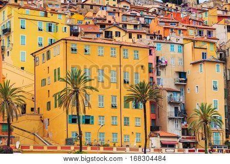 Colorful old town Menton on french Riviera France