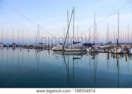 Sailing Boats In The Marina, Lake Balaton