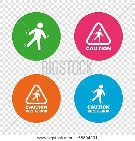 Caution wet floor icons. Human falling triangle symbol. Slippery surface sign. Round buttons on transparent background. Vector