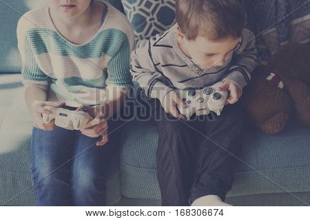 Little Children Siblings Playing Gaming