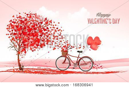 Valentine holiday background with heart shaped tree and bicycle with red balloons. Vector.