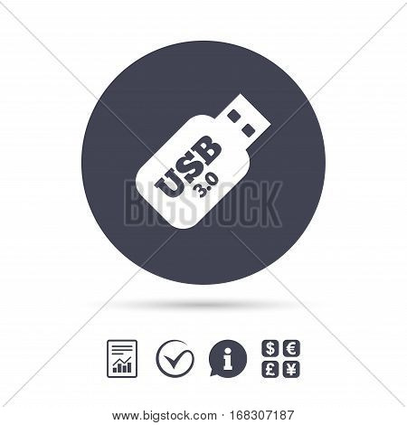 Usb 3.0 Stick sign icon. Usb flash drive button. Report document, information and check tick icons. Currency exchange. Vector