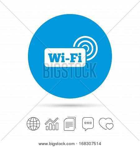 Free wifi sign. Wifi symbol. Wireless Network icon. Wifi zone. Copy files, chat speech bubble and chart web icons. Vector