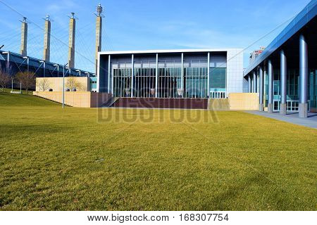 January 30, 3017 in Kansas City, MO:  Large modern style convention center with its four decorative concrete pylons which is part of the Kansas City Skyline and where people from around the country and world attend large conventions taken in Downtown Kans