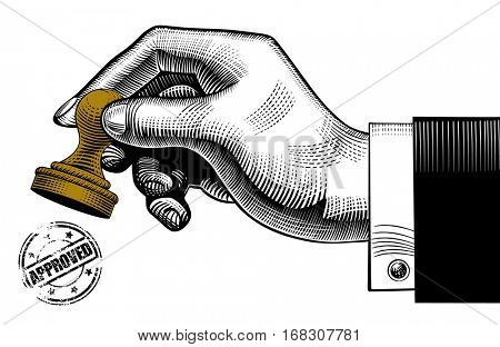Hand holding a rubber stamp and round approved seal. Vintage stylized drawing. Vector illustration