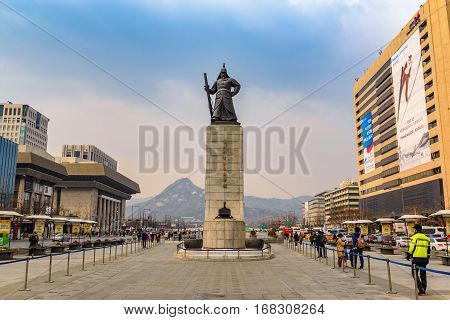 SEOUL KOREA: MARCH 262016: Gwanghwamun Plaza with the statue of the Admiral Yi Sun-sin in Seoul South Korea