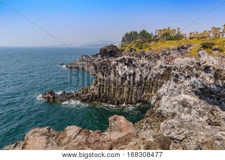 Jeju-do Daepo Jusangjeolli Cliff, Jeju Island, South Korea