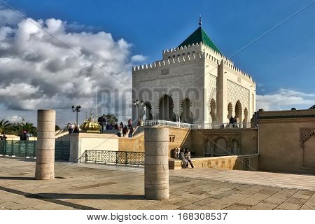 Rabat, Morocco, January 22, 2017: The mausoleum if the Moroccan kings at Rabat in Morocco.