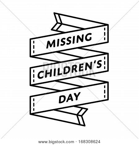 Missing Childrens Day emblem isolated vector illustration on white background. 25 may world social holiday event label, greeting card decoration graphic element