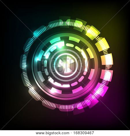 Abstract technology colorful background with circles, stock vector