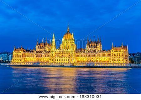 Hungarian Parliament and Budapest city skyline at night, Budapest, Hungary