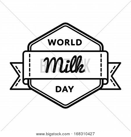 World Milk Day emblem isolated vector illustration on white background. 1 june global healthy eating holiday event label, greeting card decoration graphic element